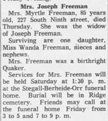 Myrtle Thomas Freeman - Newspapers.com