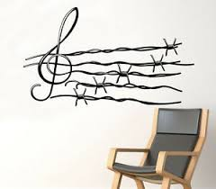 Musical Notes Wall Decal Barbed Wire Vinyl Sticker Unique Home Art Decor 28 Nse Ebay