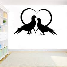 Doves Wall Decal Bird Stickers Wall Mural Home Design Wall Decor Animal Decal Bedroom Living Room Vinyl Art Wall Decoration Y182 Wall Stickers Aliexpress