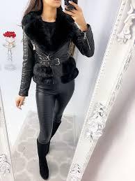 turner black faux leather faux fur