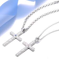 blue sweet couple necklaces cross