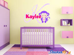 Personlaized Baby Monkey Name Wall Decal Monogram Nursery Baby Bedroom Decor