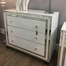 harper white mirrored glass drawer