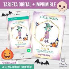 Invitacion Halloween Brujita Tienda De Tarjetas