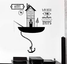 wall vinyl decal sea ocean quote home is where anchor drops home