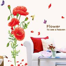 Red Poppy Wall Decals Home Decor Art Flower Vinyl Mural Wall Stickers My Aashis