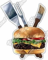 Burger Bbq Food Hamburger Grill Barbecue Car Bumper Vinyl Sticker Decal 4 X5 Ebay
