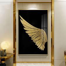 Luxury Golden Wings Black Gold Wall Art Modern Chic Fashion Salon Pict Nordicwallart Com