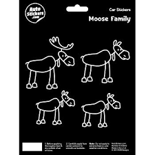 Amazon Com Moose Family Vinyl Car Stickers 4 Decals Automotive