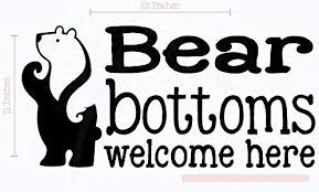 Amazon Com Wall Decor Plus More Bear Bottoms Welcome Here Vinyl Lettering Art Wall Decals Stickers Camper Decor Quote 23 X 11 Black Home Improvement
