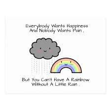 cute rainbow rain cloud happiness quote postcard com