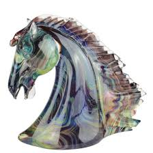 horse head sculpture in chalcedony