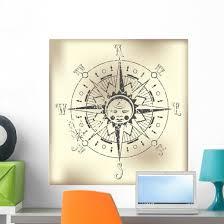 Compass Rose Form Stamp Wall Decal Wallmonkeys Com