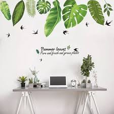 2020 New Personality Creative Green Foliage Leaves Botanical Wall Sticker Nursery Decor Decal Art Mural Gift Home Wall Stickers Wall Stickers Aliexpress