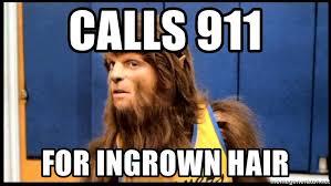 calls 911 for ingrown hair wolf