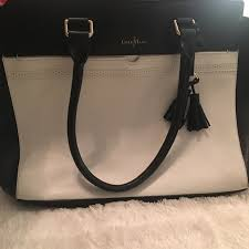 cole haan bags black and white tote