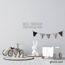kids room wallpaper mockup premium psd