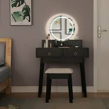 vanity set with o 12 led lighted mirror