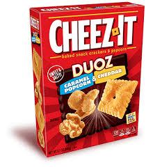 cheez it duoz caramel popcorn and cheddar