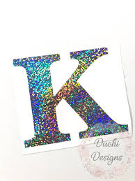 Single Initial Holographic Vinyl Holo Glitter Vinyl Decal Etsy