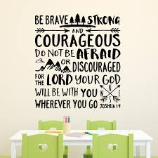 Joshua 1 9 Vinyl Wall Decal 23 Be Strong And Courageous Explorer Nursery Compass Trees Traces Nursery Bible Verse Boy S Room Jos1v9 0023