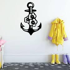 Boat Anchor Wall Decal Hawaiian Flower Design Vinyl Home Decoration Customvinyldecor Com