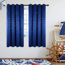 Amazon Com Anjee Blackout Star Curtains For Kids Room 2 Panels Cutout Stars Romantic Starry Sky Space Theme Printed Windows Curtains 63 Inches Length Royal Blue Home Kitchen