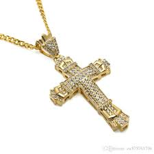 fashion mens iced out big cross pendant