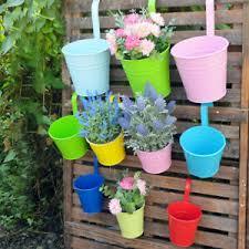 10x Metal Flower Pots Hanging Balcony Planter Plant Pot Patio Fence Garden Decor Ebay