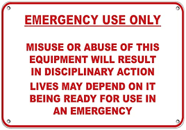 Amazon Com Emergency Use Only Misuse Of Equipment Disciplina Ry Action Label Decal Sticker Sticks To Any Surface 10x7 Office Products