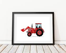 Red Tractor Print Tractor Watercolor Tractor Decor Kids Prints Etsy