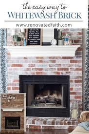 whitewash brick fireplace renovated faith