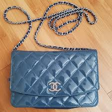 chanel bags patent leather blue woc