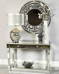 alpha silver mirrored console table