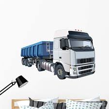 Amazon Com Wallmonkeys Blue Dump Truck Wall Decal Peel And Stick Graphic 48 In W X 34 In H Wm271544 Home Kitchen