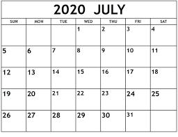 Calendar Month July 2020 Free Latest ...