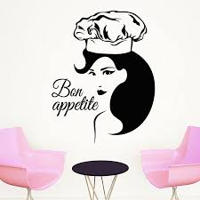 Kitchen Wall Decal Quotes Bon Appetit Interior Wall Stickers Chef Woman Pattern Home Decor Art Mural Fashion Design Decal Removable Wall Decals Nursery Removable Wall Decals Quotes From Onlinegame 12 66 Dhgate Com