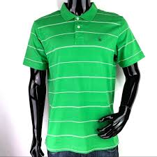 mens large green stripe polo shirt nwot
