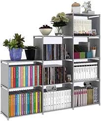 Amazon Com Hostarme Bookshelf Kids 9 Cube Book Shelf Organizer Bookcase Diy For Bedroom Classroom Office Grey Furniture Decor