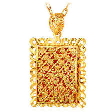 big pendant necklace 18k gold plated