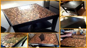 coffee table a makeover using pennies