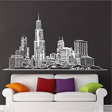 Amazon Com Wyttt Wall Decal Sticker Chicago American City Vinyl Decor Kids Room Removable Bedroom Mural 77x42cm Wall Sticker Home Kitchen