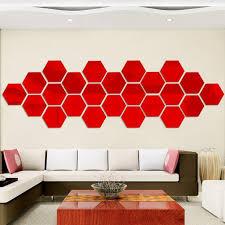 Maboto 12 Piece 3d Hexagon Acrylic Mirror Wall Stickers Diy Art Decoration Mural Stickers Home Decor Living Room Mirror Sticker Decorative Red Trumpet 8 8 Cm Set 12 For One Set Walmart Com Walmart Com