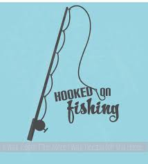 Fisherman Art Decor Hooked On Fishing Wall Decal Sticker With Fish Pole