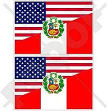 Amazon Com Usa United States Of America Peru American Peruvian State Flag 3 75mm Vinyl Bumper Stickers Decals X2 Automotive