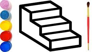 Vẽ cầu thang 3D đơn giản và tô màu cho bé | Dạy bé vẽ