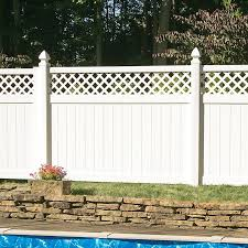 Freedom Ready To Assemble Conway 6 Ft H X 8 Ft W White Vinyl Lattice Top Fence Panel In The Vinyl Fence Panels Department At Lowes Com