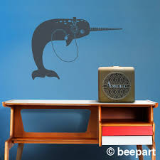 Narwhal With Headphones Wall Decal Narwhal Sticker Music Lover Art
