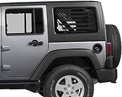 Amazon Com Coza Distressed American Flag Decal For Jeep Or Others Rear Window Fits Any Vehicle 2 Decals Total Usa Subdued Tattered Automotive