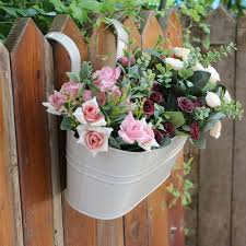 656593159 Iron Hanging Flower Plant Pots Balcony Garden Plant Planter Fence Bucket Flower Holders With Detachable Hook Home Decor Home Garden Garden Supplies